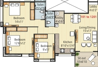 Antariksha Apartment 3 BHK Floor Plan.