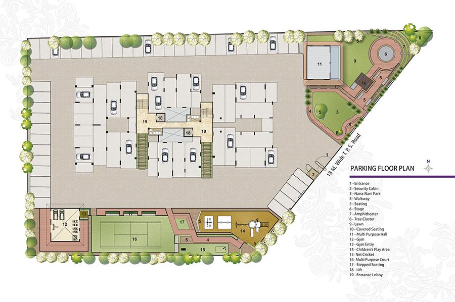 Amodini Apartment Parking Floor Plan.