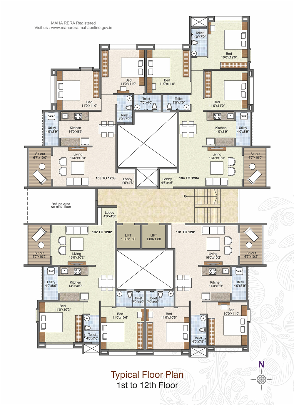 1 to 12th Floor Plan
